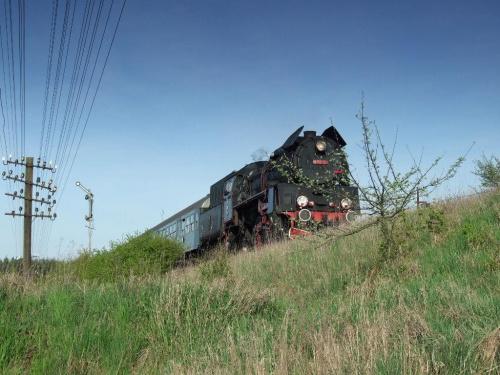 parowóz OL49, trasa Poznań - Wolsztyn, okolice Szreniawy, 20.04.2009 #kolej #kolejnictwo #lokomotywa #lokomotywy #OL49 #parowozy #parowóz #PKP #pociąg #PojazdySzynowe #Szreniawa