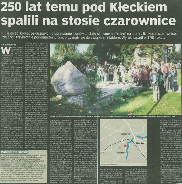 """Rok 1761 spalenie """"czarownic"""" Artykuł napisała Iza Budzyńska Gnieźnieński Tydzień nr.40 (234) 07.10.2011 #Kłecko"""