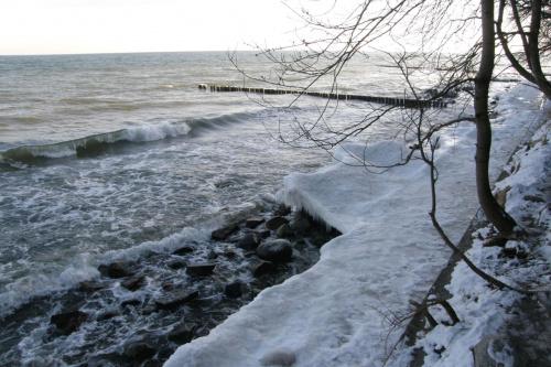 widok z falochronu #lód #morze #plaża #woda #zima