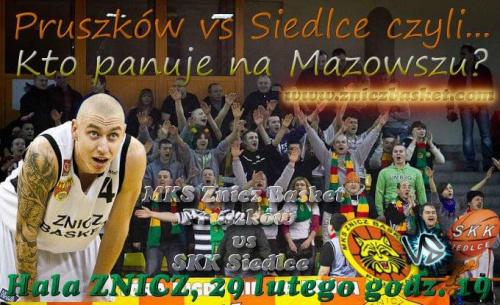 Plakat zapowiadający spotkanie I ligi koszykówki mężczyzn pomiędzy drużynami MKS Znicz Basket Pruszków i SKK Siedlce #ZniczBasket #Pruszków #koszykówka #ILiga #PZKosz #kosz #basket #SKK #Siedlce