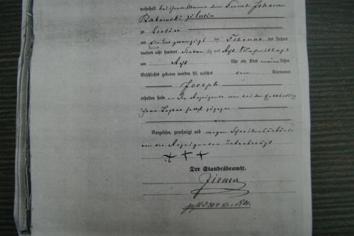 Akt urodzenia Jozefa Rakowskiego