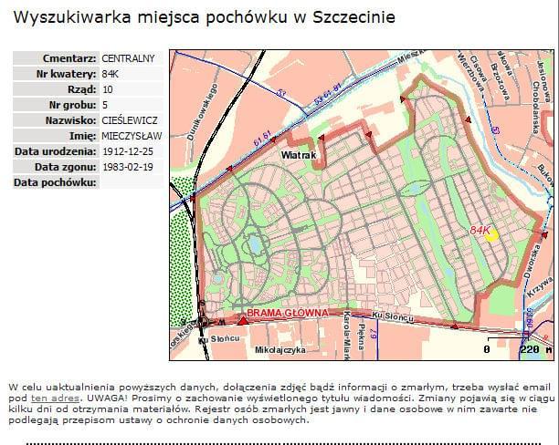 Mieczysław Cieślewicz Szczecin cmentarz centralny 84kwatera rzad 10 grób 5