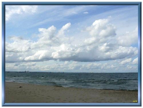 Plaża, Gdańsk-Górki Zachodnie #namalowane #obrazy #GdańskGórkiZachodnie #NadMorzem #widok #obraz #chmury